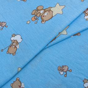 Маломеры бязь 120 гр/м2 детская 150 см 7176 Мишка со звездой голубой 2.7 м фото
