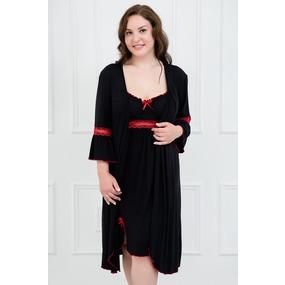 Комплект халат+сорочка 0060-11 цвет Черный р 42 фото