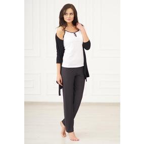 Комплект тройка майка+халат+брюки 0814 цвет Черный р 50 фото