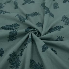 Ткань на отрез кулирка 1371-V6 Ананасы цвет зеленый фото