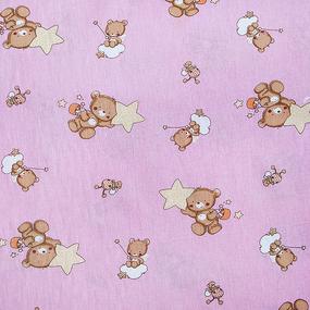 Мерный лоскут на отрез бязь 120 гр/м2 детская 150 см 7176 Мишка со звездой розовый фото