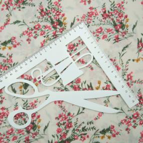 Ткань на отрез штапель 150 см D036 Веточки на белом фото