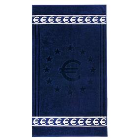 Полотенце велюровое Европа 70/130 см цвет синий с евро фото
