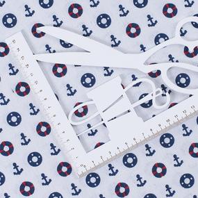 Ткань на отрез лен TBY-DJ-09 Якоря фото