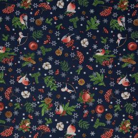 Ткань на отрез рогожка 150 см 12181/1 Волшебство цвет синий фото