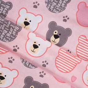 Ткань на отрез бязь плательная 150 см 8126/1 Мишки (пэчворк) розовый фото