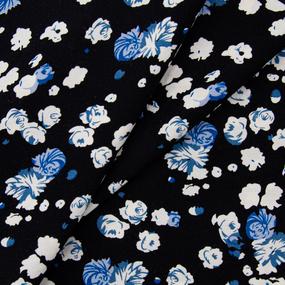 Ткань на отрез штапель 145 см 2912 Вид 1 Цветы на черном фото