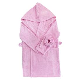 Халат детский махровый с капюшоном розовый 104-110 см фото