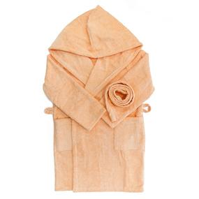 Халат детский махровый с капюшоном персиковый 104-110 см фото