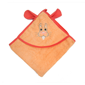 Уголок детский махровый с вышивкой персиковый фото
