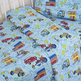 Постельное белье в детскую кроватку 1657 поплин с простыней без резинки фото