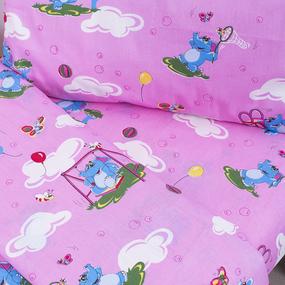 Постельное белье в детскую кроватку из бязи 315/2 Слоники с шариками розовый ГОСТ фото