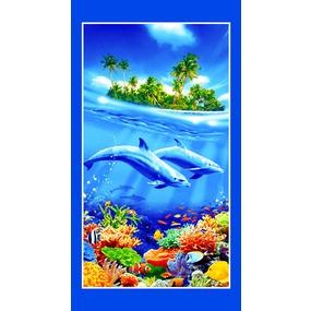 Полотенце вафельное пляжное 326/1 Дельфины 70/150 см фото