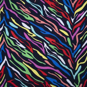 Ткань на отрез кулирка R8115-V1 Разноцветная зебра фото