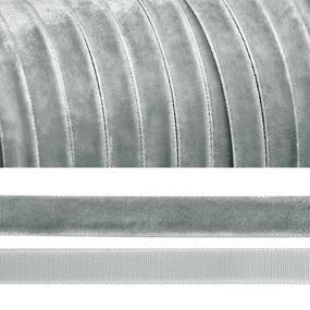 Лента бархатная 20 мм TBY LB2088 цвет серый 1 метр фото