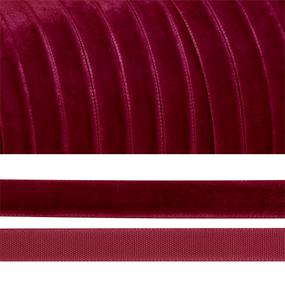 Лента бархатная 25 мм TBY LB2544 цвет бордо 1 метр фото