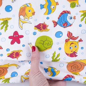 Ткань на отрез бязь ГОСТ Шуя 150 см 98301 Подводный мир фото