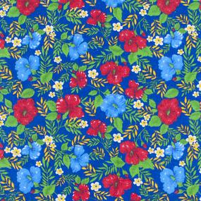Ткань на отрез фланель 90 см 134-2П Цветы на синем фото