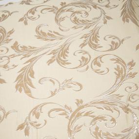 Портьерная ткань с люрексом 150 см на отрез Х7187 цвет 15 светло-бежевый вензель фото