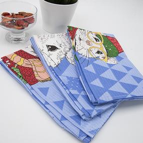 Набор вафельных полотенец 3 шт 50/60 см 3028-1 Мышиный король фото