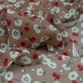 Ткань на отрез штапель 150 см 49575 Цветы на бежевом фото