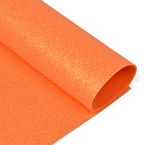 Фоамиран глиттерный Magic 4 Hobby 2 мм арт.MG.GLIT.H046 цв.оранжевый, 20х30 см фото