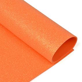 Фоамиран глиттерный 2 мм 20/30 см уп 10 шт MG.GLIT.H046 цвет оранжевый фото