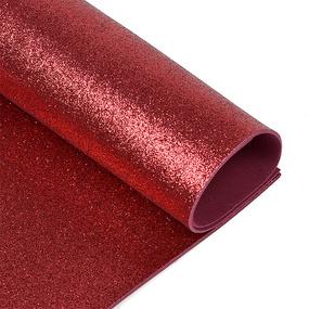 Фоамиран глиттерный 2 мм 20/30 см уп 10 шт MG.GLIT.H025 цвет темно-вишневый фото