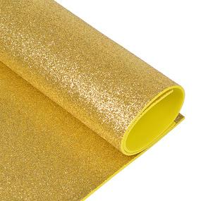 Фоамиран глиттерный 2 мм 20/30 см уп 10 шт MG.GLIT.H008 цвет светло-золотой фото