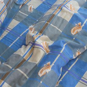 Постельное белье из бязи 152/1 Перья синие 1.5 сп с 1-ой нав. 70/70 фото