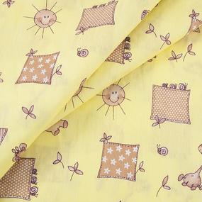 Ткань на отрез бязь 120 гр/м2 детская 150 см 366/4 Жирафики цвет желтый фото