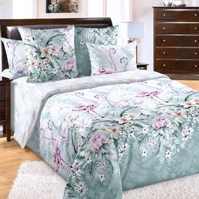 Ткань на отрез бязь 120 гр/м2 220 см 20356/1 Фламинго цвет зеленый основа фото