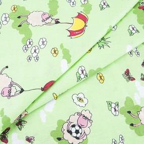 Ткань на отрез бязь ГОСТ детская 150 см 317/3 Овечки цвет зелёный фото