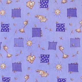 Ткань на отрез бязь ГОСТ детская 150 см 366/5 Жирафики цвет фиолетовый фото