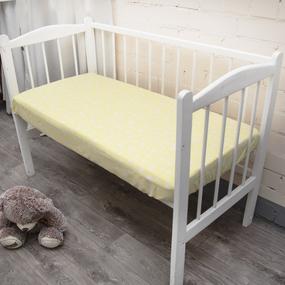 Простыня на резинке бязь детская 1700/8 цвет желтый 60/120/12 см фото