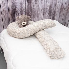 Наволочка бязь на подушку для беременных U-образная 402/18 Дамаск цвет кофе фото