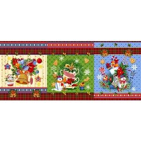 Ткань на отрез вафельное полотно набивное 150 см Новогодние чудеса 11133/1 фото
