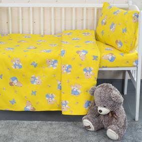 Постельное белье в детскую кроватку из бязи 1332/4 За медом желтый фото