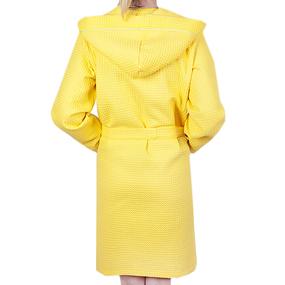 Халат женский вафельный с капюшоном желтый премиум р 44 фото