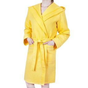 Халат женский вафельный с капюшоном желтый премиум р 56 фото
