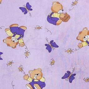 Ткань на отрез бязь ГОСТ детская 150 см 1332/3 За медом цвет сиреневый фото