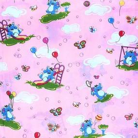 Ткань на отрез бязь ГОСТ детская 150 см 315/2 Слоники цвет розовый фото