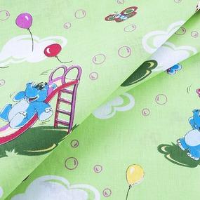 Ткань на отрез бязь ГОСТ детская 150 см 315/3 Слоники цвет зеленый фото