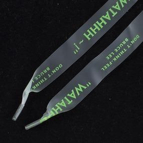 Шнурки силиконовые зеленая надпись 130см уп 2 шт фото