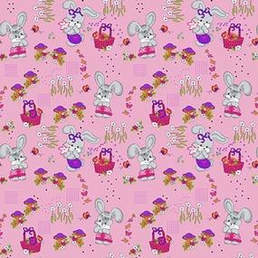 Бязь 120 гр/м2 детская 150 см 1304/2 Лесная сказка цвет розовый фото