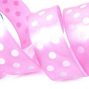 Лента атласная горох ширина 25 мм (27,4 м) цвет 155029 светло-розовый-белый фото