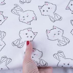 Ткань на отрез интерлок Милые котятки 5426-19 цвет белый фото