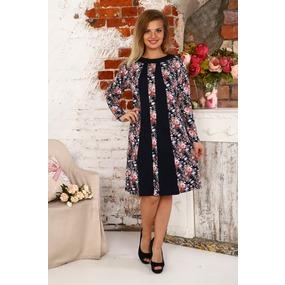 Платье Алина интерлок светло розовые цветы Д410 р 54 фото