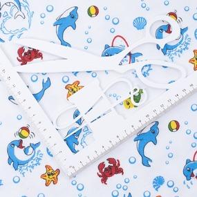Ткань на отрез фланель 90 см 5105/1 Дельфины фото
