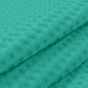 Ткань на отрез вафельное полотно гладкокрашенное 150 см 240 гр/м2 15С169 7х7 мм цвет изумруд фото